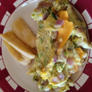 Broccoli, onion, and cheese omelet